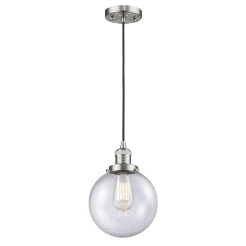 Franklin Restoration Brushed Satin Nickel Eight-Inch LED Mini Pendant with Seedy Beacon Shade and Black Textured Cord
