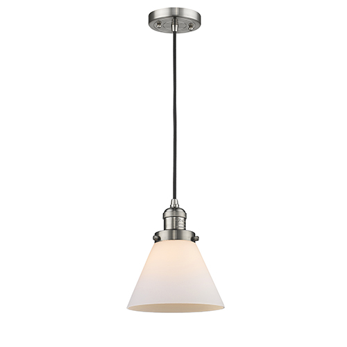 Large Cone Brushed Satin Nickel Eight-Inch LED Mini Pendant with Matte White Cased Cone Glass and Black Cord