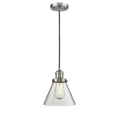 Large Cone Brushed Satin Nickel Eight-Inch LED Mini Pendant with Clear Cone Glass and Black Cord