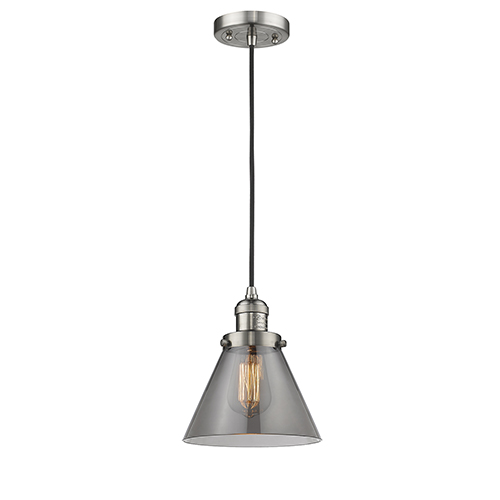 Innovations Lighting Large Cone Brushed Satin Nickel Eight-Inch LED Mini Pendant with Smoked Cone Glass and Black Cord