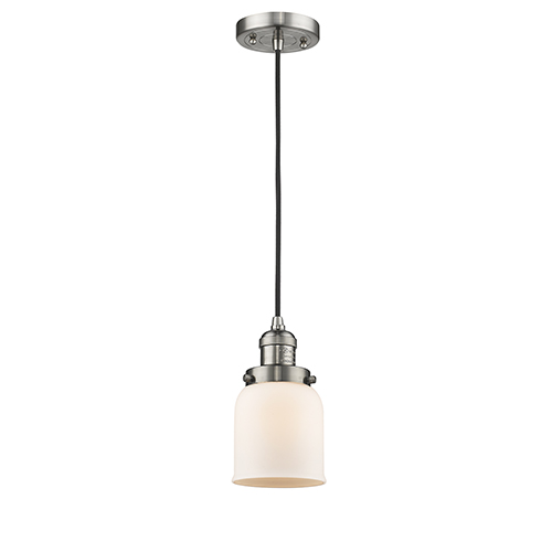 Small Bell Brushed Satin Nickel Five-Inch LED Mini Pendant with Matte White Cased Bell Glass and Black Cord