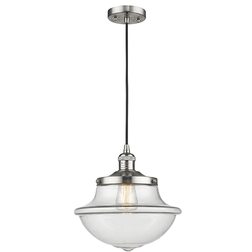 Innovations Lighting Oxford School House Brushed Satin Nickel 12-Inch One-Light Pendant with Clear Bell Glass