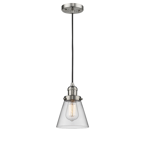 Innovations Lighting Small Cone Brushed Satin Nickel Six-Inch One-Light Mini Pendant with Clear Cone Glass and Black Cord