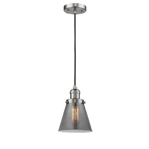 Small Cone Brushed Satin Nickel Six-Inch LED Mini Pendant with Smoked Cone Glass and Black Cord
