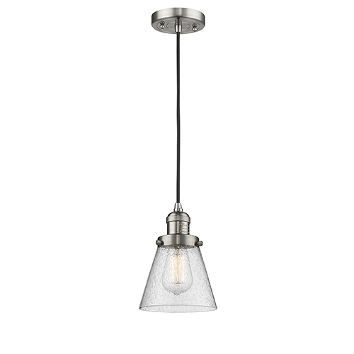 Innovations Lighting Small Cone Brushed Satin Nickel Six-Inch One-Light Mini Pendant with Seedy Cone Glass and Black Cord