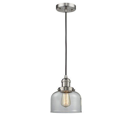 Innovations Lighting Large Bell Brushed Satin Nickel Eight-Inch LED Mini Pendant with Clear Dome Glass and Black Cord