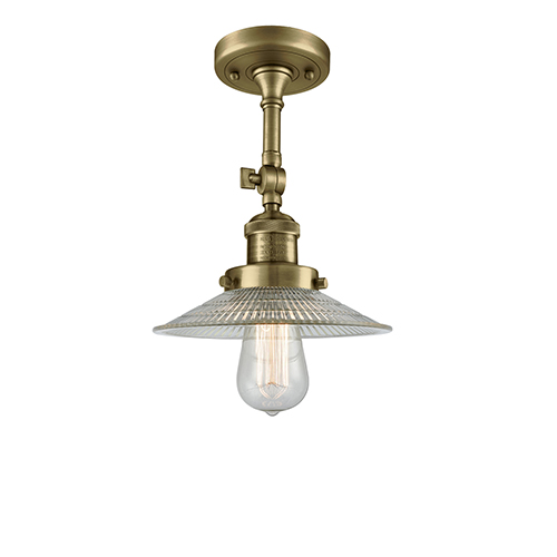 Innovations Lighting Halophane Antique Brass 11-Inch One-Light Semi Flush Mount with Halophane Cone Glass