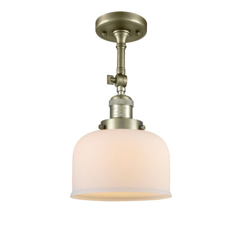 Large Bell Antique Brass LED Semi Flush Mount with Matte White Cased Glass
