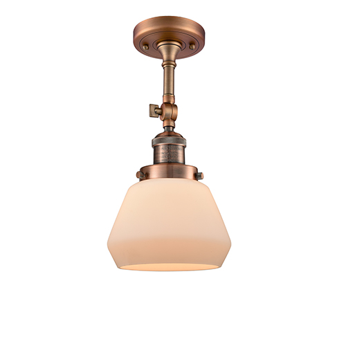 Innovations Lighting Fulton Antique Copper 13-Inch One-Light Semi Flush Mount with Matte White Cased Sphere Glass