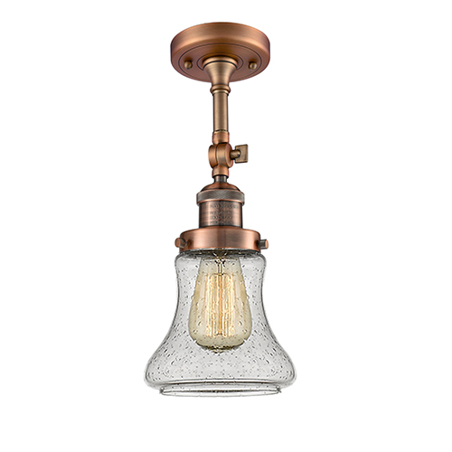 Innovations Lighting Bellmont Antique Copper 14-Inch One-Light Semi Flush Mount with Seedy Hourglass Glass