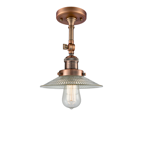 Innovations Lighting Halophane Antique Copper 11-Inch One-Light Semi Flush Mount with Halophane Cone Glass