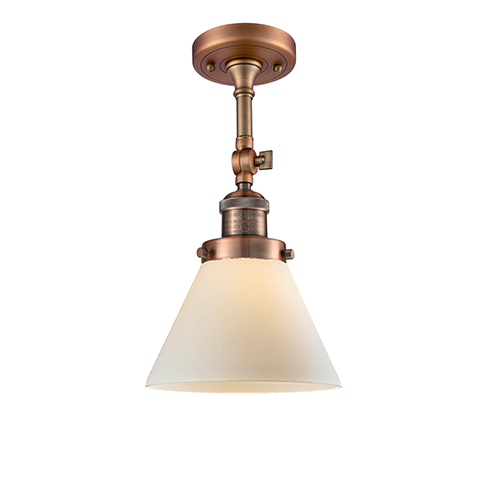 Large Cone Antique Copper 14-Inch One-Light Semi Flush Mount with Matte White Cased Cone Glass
