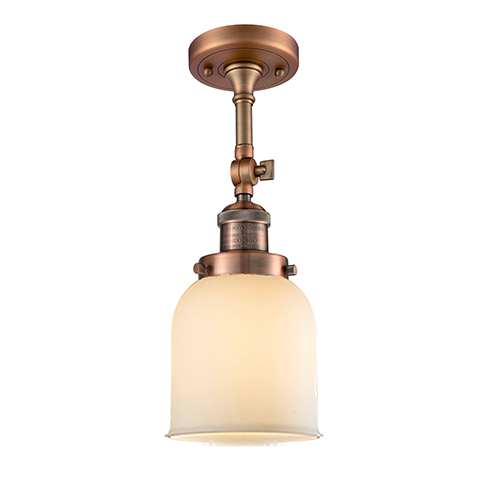 Innovations Lighting Small Bell Antique Copper 14-Inch One-Light Semi Flush Mount with Matte White Cased Bell Glass