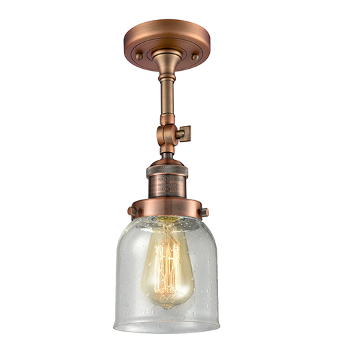 Innovations Lighting Small Bell Antique Copper 14-Inch LED Semi Flush Mount with Seedy Bell Glass
