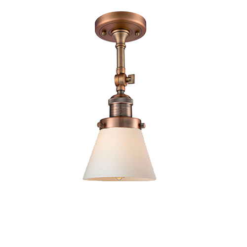 Innovations Lighting Small Cone Antique Copper Six-Inch One-Light Semi Flush Mount with Matte White Cased Cone Glass
