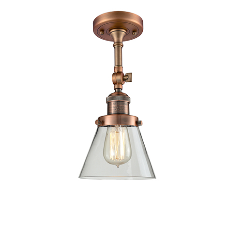Innovations Lighting Small Cone Antique Copper Six-Inch LED Semi Flush Mount with Clear Cone Glass