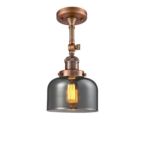 Innovations Lighting Large Bell Antique Copper 14-Inch LED Semi Flush Mount with Smoked Dome Glass