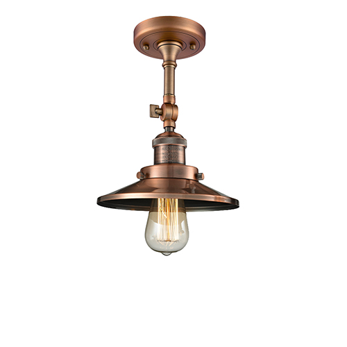 Railroad Antique Copper One-Light Semi Flush Mount