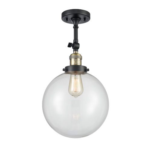 Franklin Restoration Black Antique Brass 16-Inch One-Light Semi-Flush Mount with Clear Beacon Shade