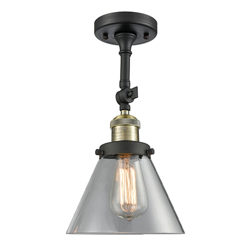 Large Cone Black Antique Brass 14-Inch LED Semi Flush Mount with Clear Cone Glass