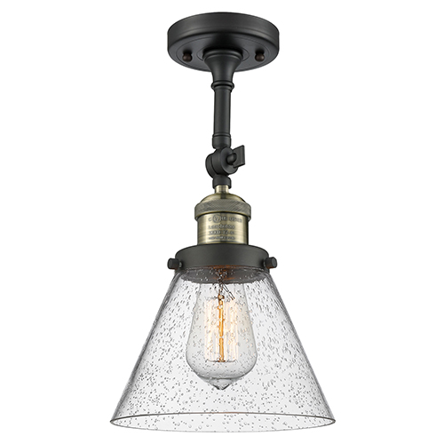Innovations Lighting Large Cone Black Antique Brass 14-Inch One-Light Semi Flush Mount with Seedy Cone Glass