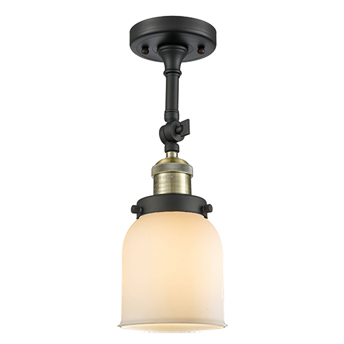 Small Bell Black Antique Brass LED Semi Flush Mount with Matte White Cased Bell Glass