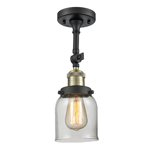 Small Bell Black Antique Brass LED Semi Flush Mount with Clear Bell Glass