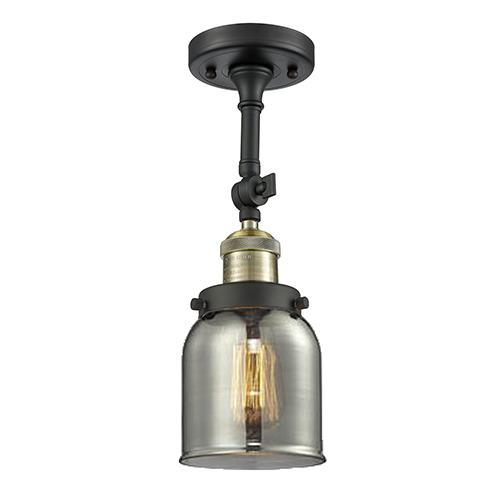Innovations Lighting Small Bell Black Antique Brass One-Light Semi Flush Mount with Smoked Bell Glass