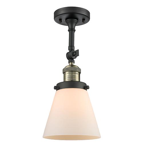 Small Cone Black Antique Brass LED Semi Flush Mount with Matte White Cased Cone Glass