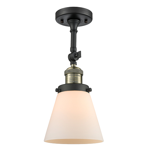 Innovations Lighting Small Cone Black Antique Brass Six-Inch One-Light Semi Flush Mount with Matte White Cased Cone Glass
