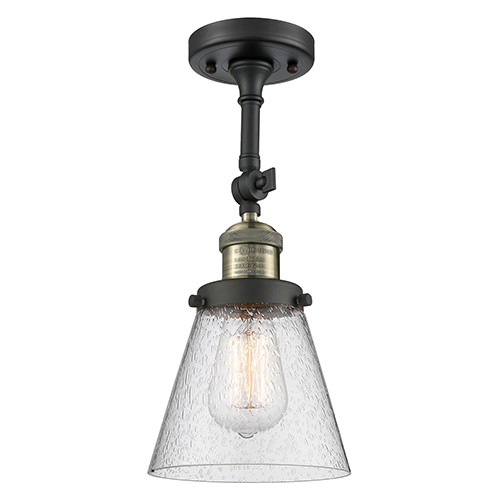 Innovations Lighting Small Cone Black Antique Brass Six-Inch One-Light Semi Flush Mount with Seedy Cone Glass