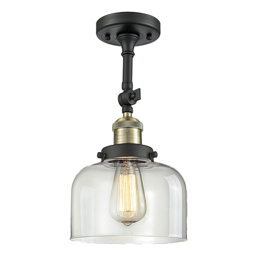 Innovations Lighting Large Bell Black Antique Brass Eight-Inch One-Light Semi Flush Mount with Clear Dome Glass