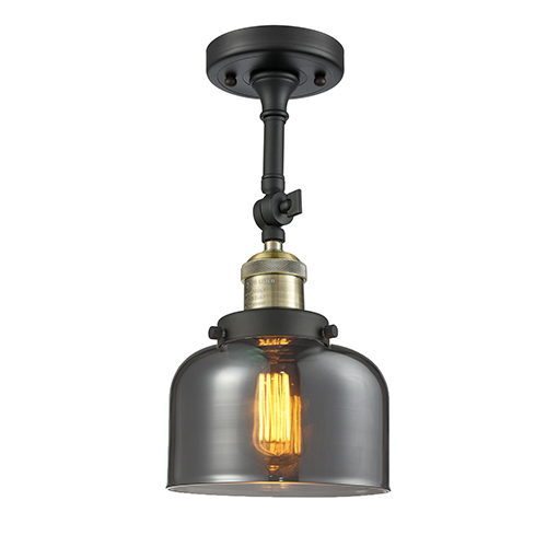 Large Bell Black Antique Brass 14-Inch LED Semi Flush Mount with Smoked Dome Glass