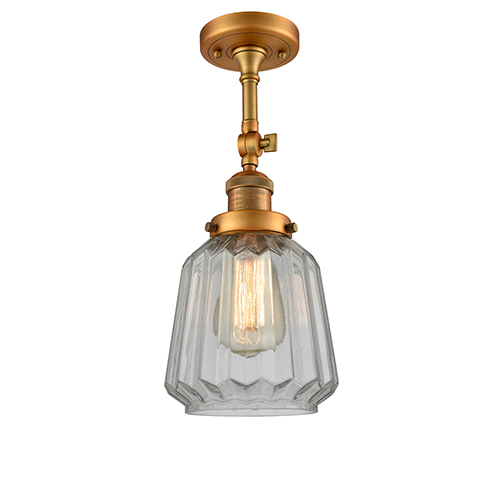 Innovations Lighting Chatham Brushed Brass 16-Inch LED Semi Flush Mount with Clear Fluted Novelty Glass