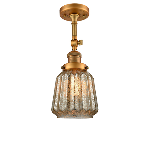 Innovations Lighting Chatham Brushed Brass 16-Inch One-Light Semi Flush Mount with Mercury Fluted Novelty Glass