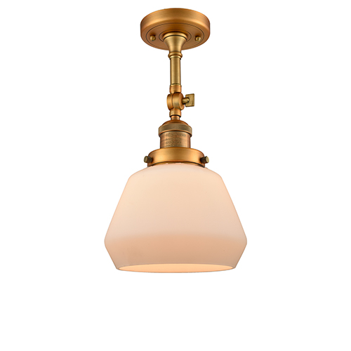Fulton Brushed Brass 13-Inch LED Semi Flush Mount with Matte White Cased Sphere Glass