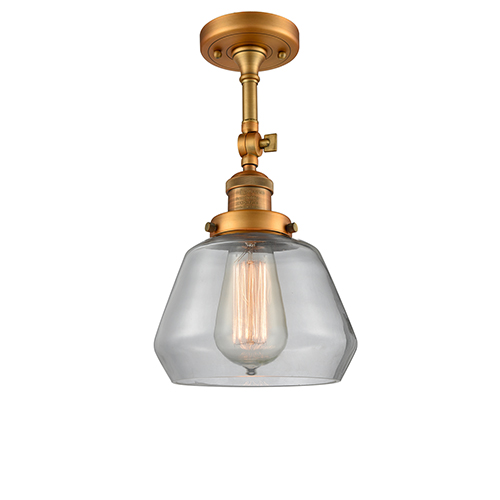 Innovations Lighting Fulton Brushed Brass 13-Inch One-Light Semi Flush Mount with Clear Sphere Glass