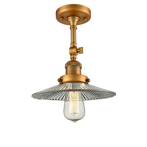 Innovations Lighting Halophane Brushed Brass 11-Inch LED Semi Flush Mount with Halophane Cone Glass