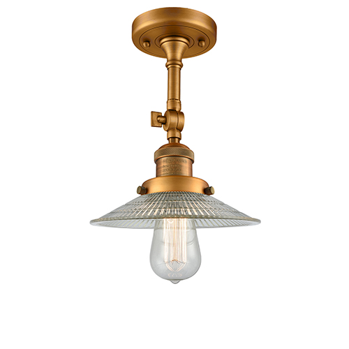 Innovations Lighting Halophane Brushed Brass 11-Inch One-Light Semi Flush Mount with Halophane Cone Glass