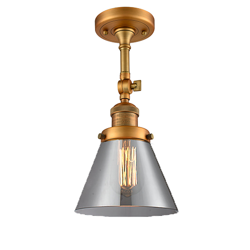 Innovations Lighting Large Cone Brushed Brass 14-Inch One-Light Semi Flush Mount with Smoked Cone Glass