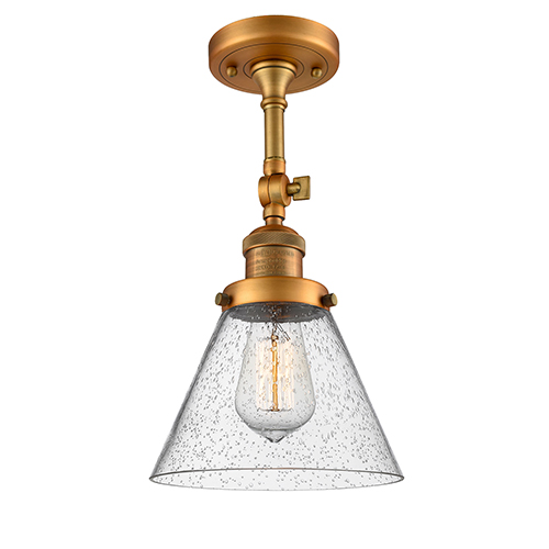 Innovations Lighting Large Cone Brushed Brass 14-Inch LED Semi Flush Mount with Seedy Cone Glass
