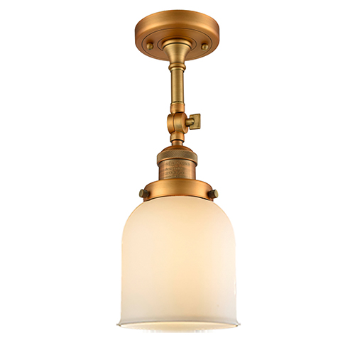 Small Bell Brushed Brass 14-Inch One-Light Semi Flush Mount with Matte White Cased Bell Glass