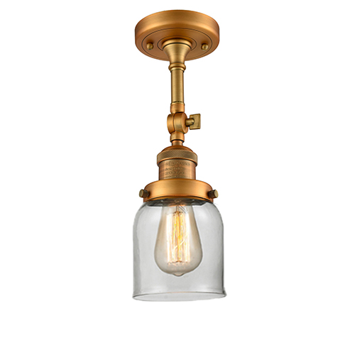 Small Bell Brushed Brass 14-Inch One-Light Semi Flush Mount with Clear Bell Glass