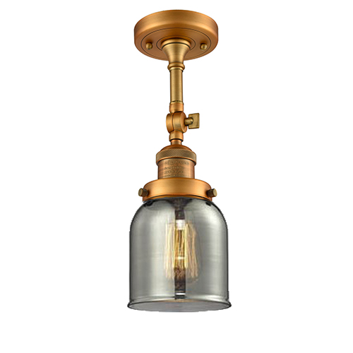 Innovations Lighting Small Bell Brushed Brass 14-Inch One-Light Semi Flush Mount with Smoked Bell Glass