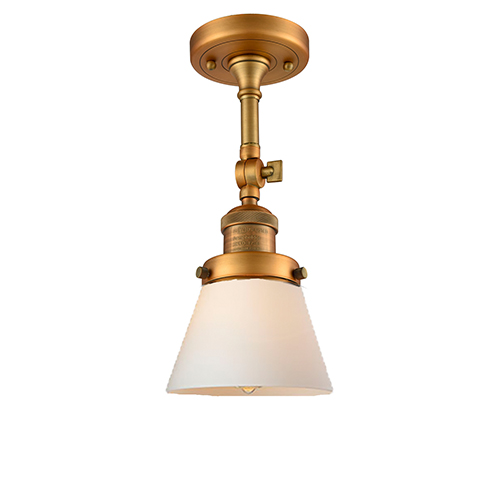 Innovations Lighting Small Cone Brushed Brass Six-Inch One-Light Semi Flush Mount with Matte White Cased Cone Glass