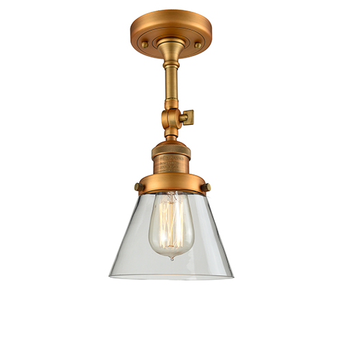 Small Cone Brushed Brass Six-Inch One-Light Semi Flush Mount with Clear Cone Glass