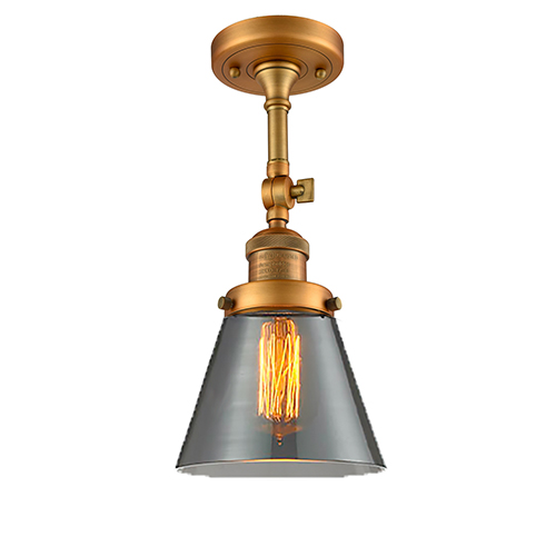 Small Cone Brushed Brass Six-Inch One-Light Semi Flush Mount with Smoked Cone Glass