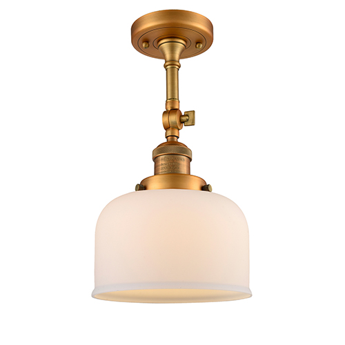 Innovations Lighting Large Bell Brushed Brass 14-Inch One-Light Semi Flush Mount with Matte White Cased Dome Glass