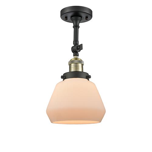 Innovations Lighting Fulton Black Brushed Brass 13-Inch LED Semi Flush Mount with Matte White Cased Sphere Glass