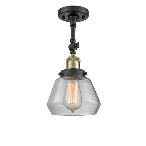 Innovations Lighting Fulton Black Brushed Brass 13-Inch One-Light Semi Flush Mount with Clear Sphere Glass